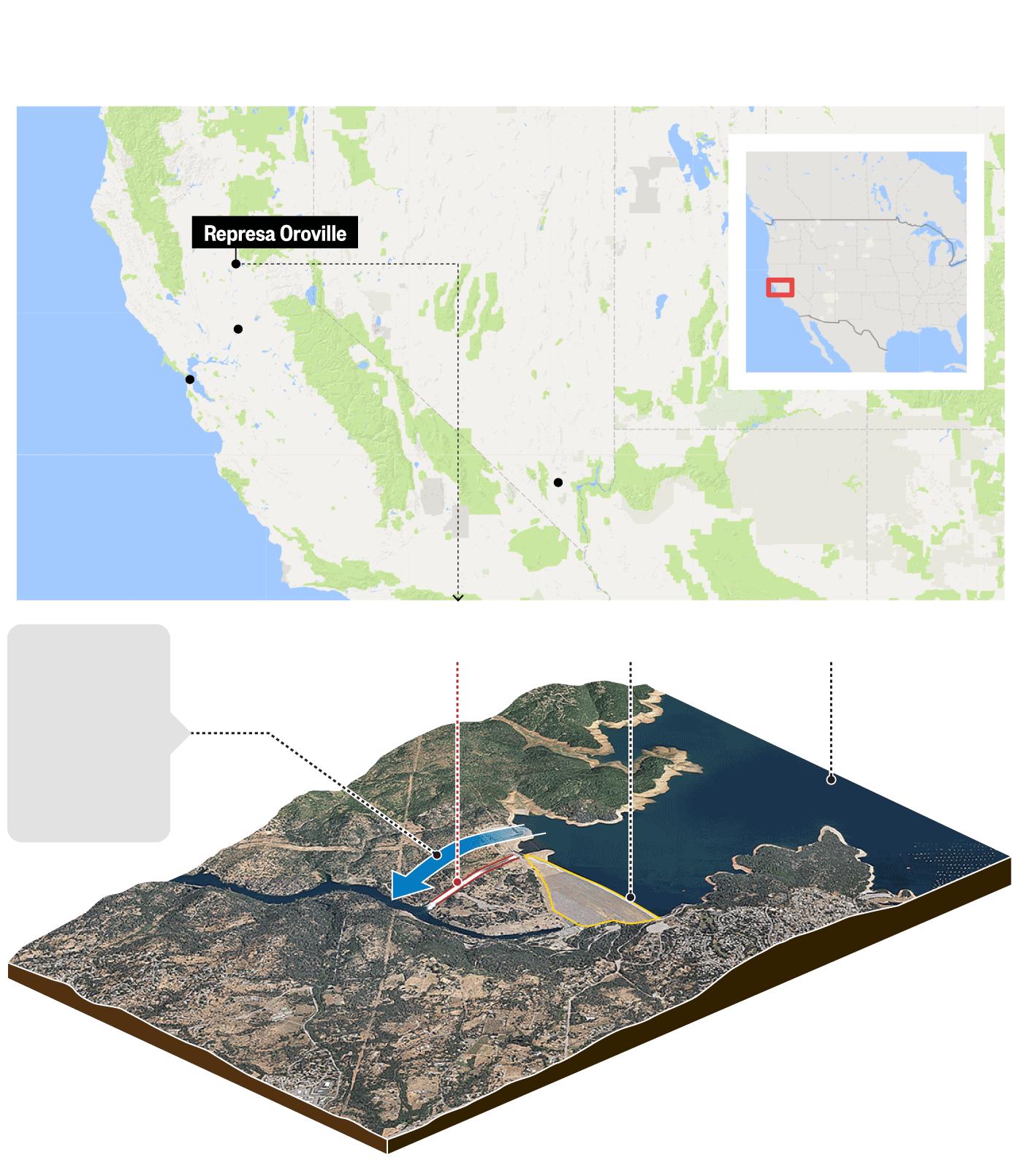 Resultado de imagem para represa sobre risco na california